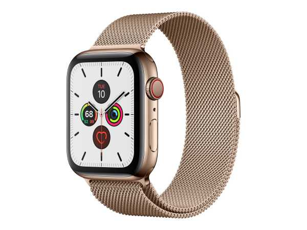 Apple Watch Series 5 (GPS + Cellular) - 44 mm - Gold, Edelstahl - intelligente Uhr mit Milanaise Arm